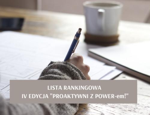 """Lista rankingowa dla IV edycji """"Proaktywni z POWER-em!"""""""